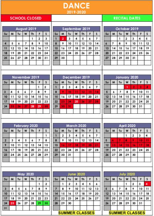 dance calendar